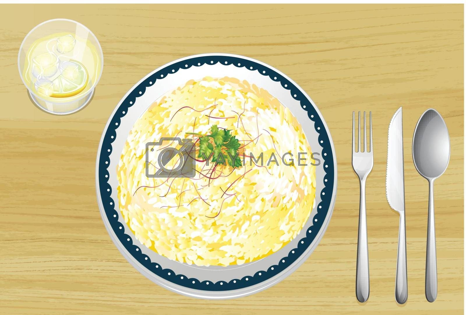 Illustration of a food and a dish on a wooden table