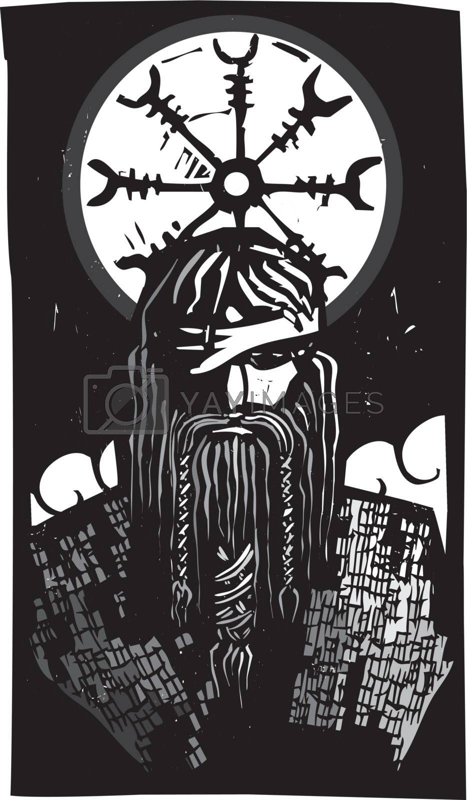Norse God Odin and Wheel Symbol by Xochicalco