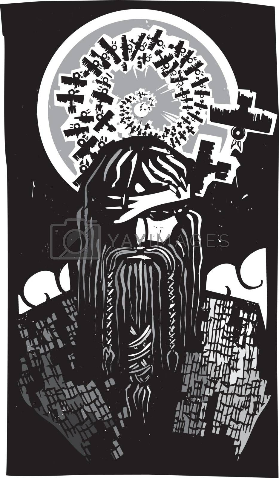 Woodcut style image of the Viking God Odin with Spiral Crows