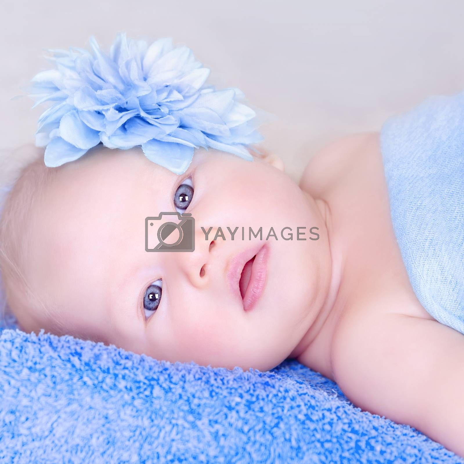 Closeup portrait of newborn baby with stylish flower in head lying down on blue towel, peace and innocence, child's healthcare concept