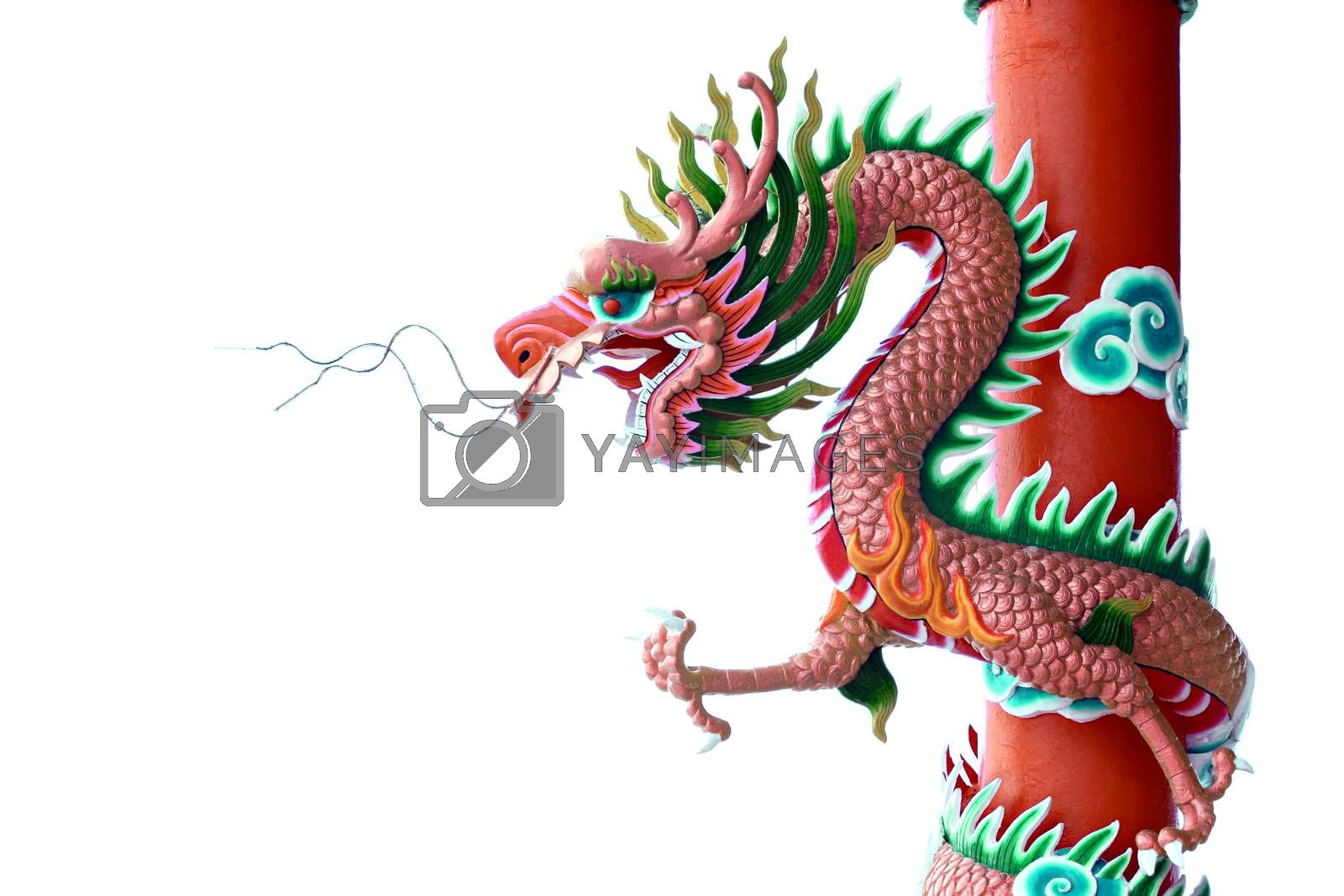 Pink color of Dragon statue on pillars on white background.