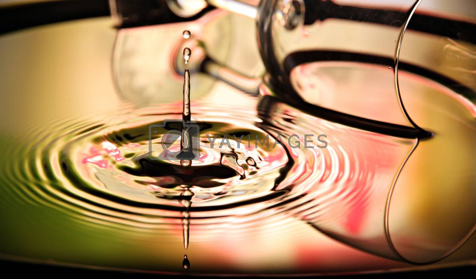 Closeup Pictures Glass Background of Water drops a beautiful shape in Basin.