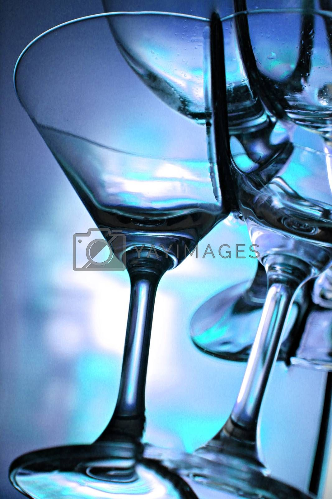 The Picture Focus Blue Background of wine glass in Basin.