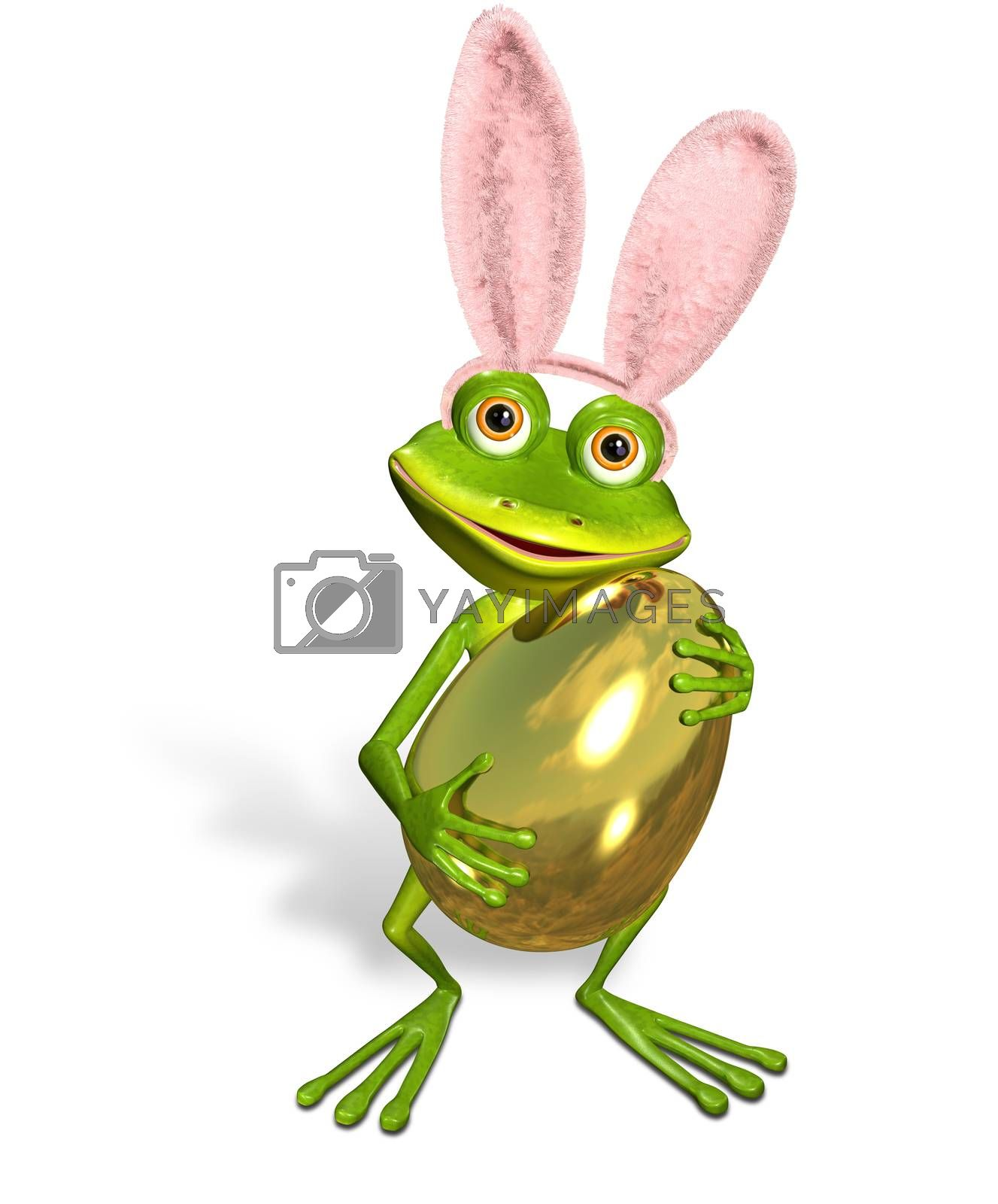 3d illustration merry green frog with a Easter Egg