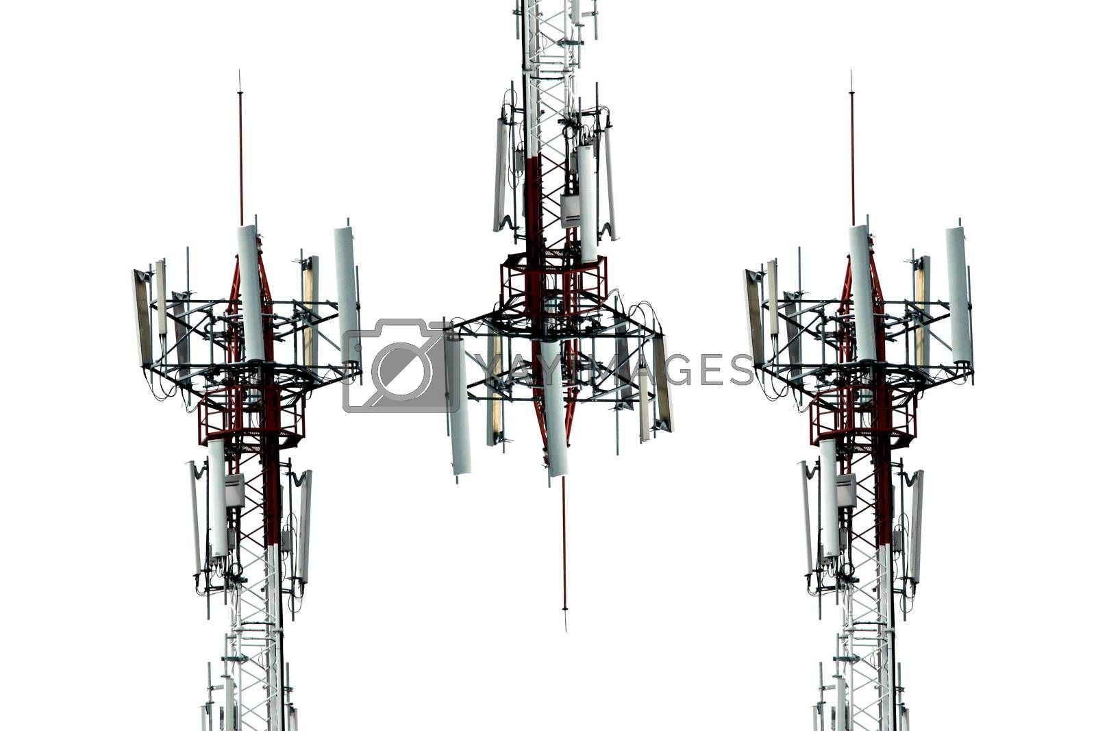 The Antenna array telephone on white background.