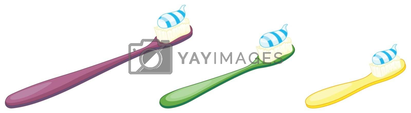 illustration of a tooth brush with paste on a white background