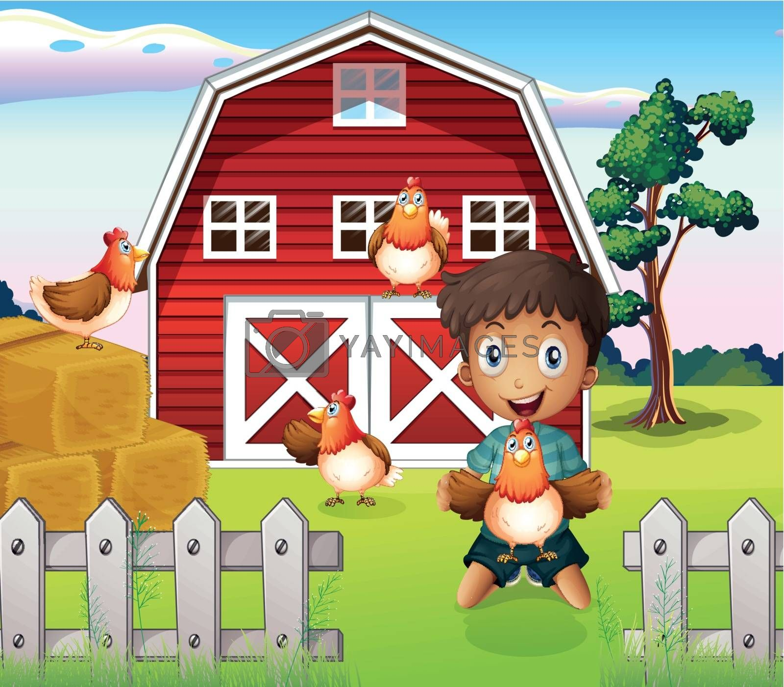Illustration of a boy playing with his farm animals