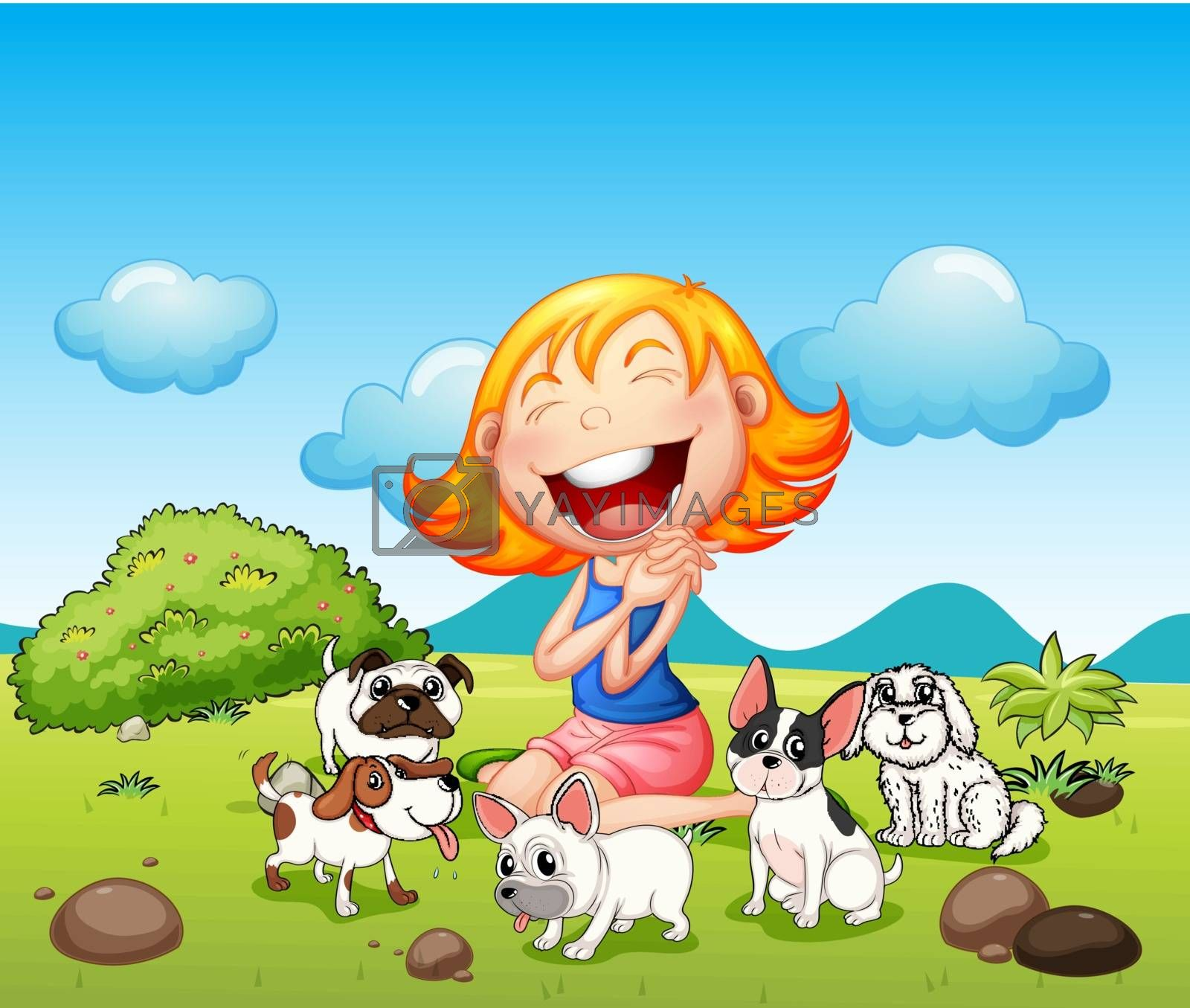 A happy lady with her pets by iimages