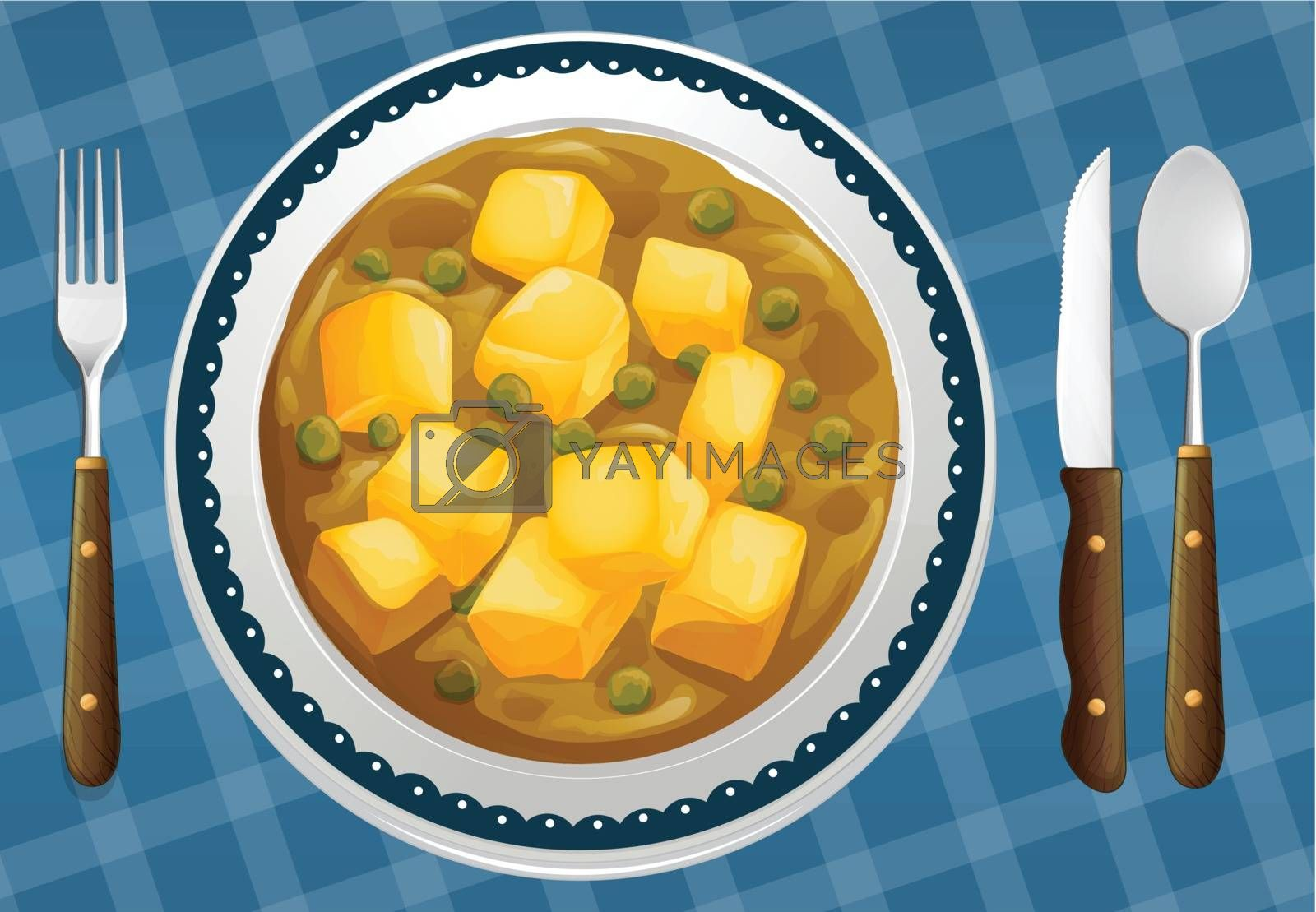illustration of a food and a dish on a blue background