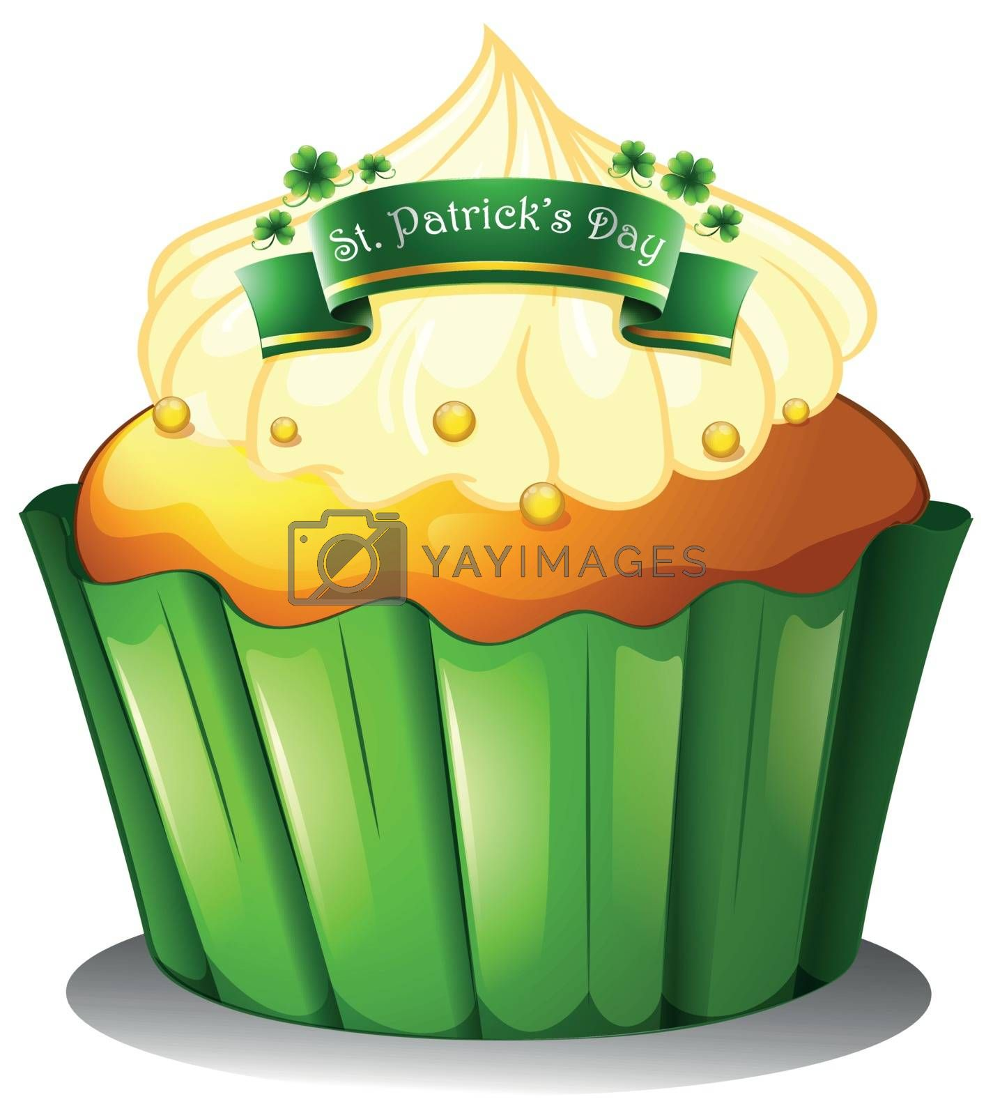 Illustration of the cupcake for the celebration of St. Patrick's day on a white background