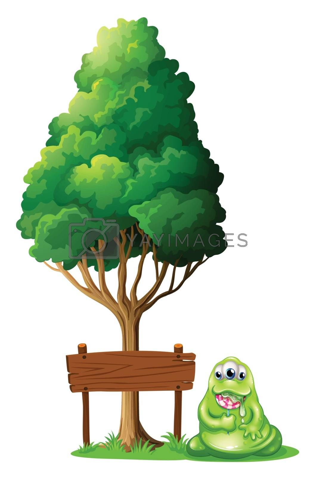 Illustration of a monster beside the empty wooden signboard under the tree on a white background