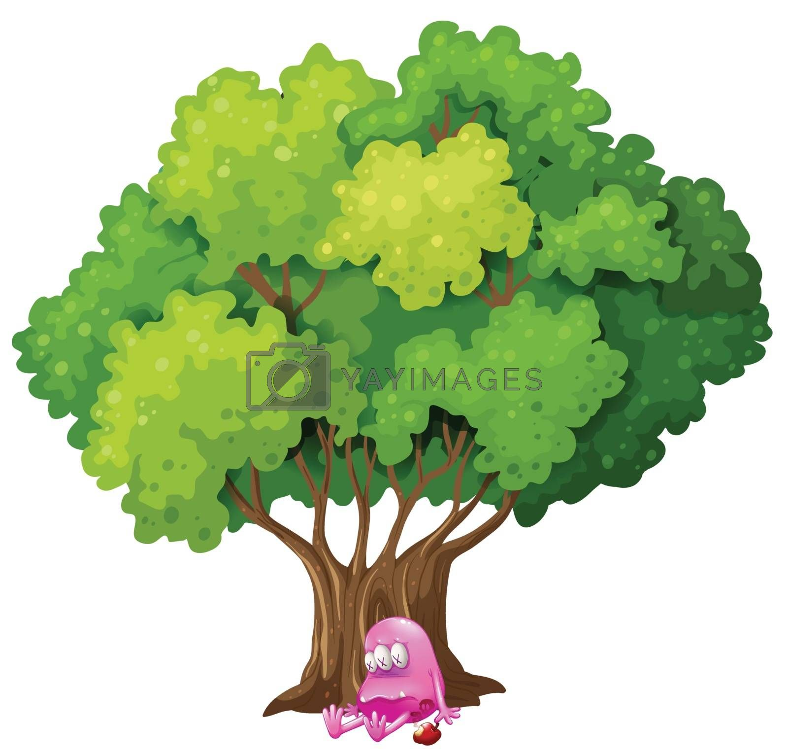 Illustration of a poisoned pink monster under the tree on a white background