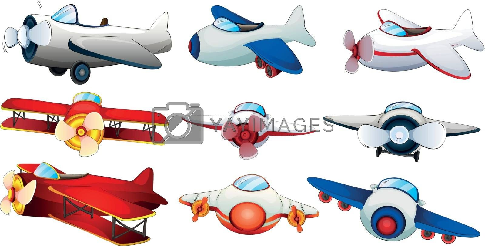 Illustration of the different plane designs on a white background