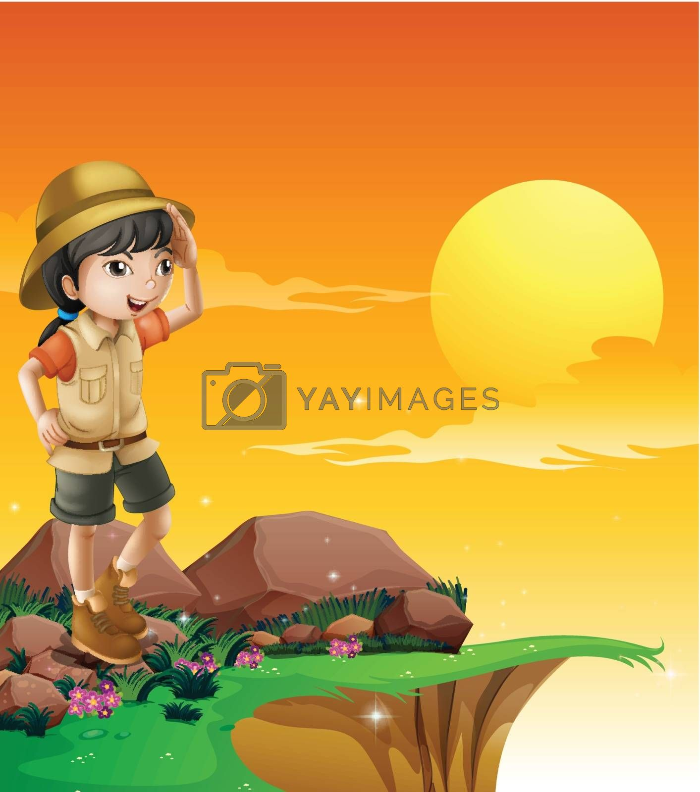 Illustration of a girl above a rock near the cliff