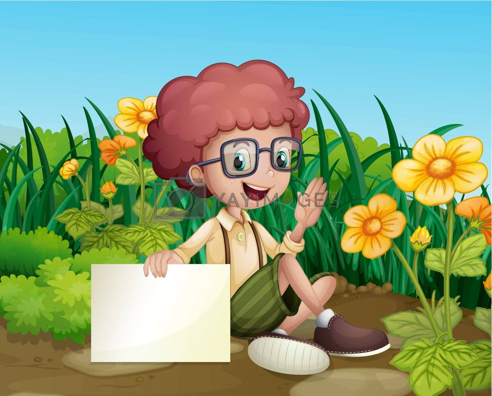 Illustration of a smiling young boy near the flowers holding an empty signboard