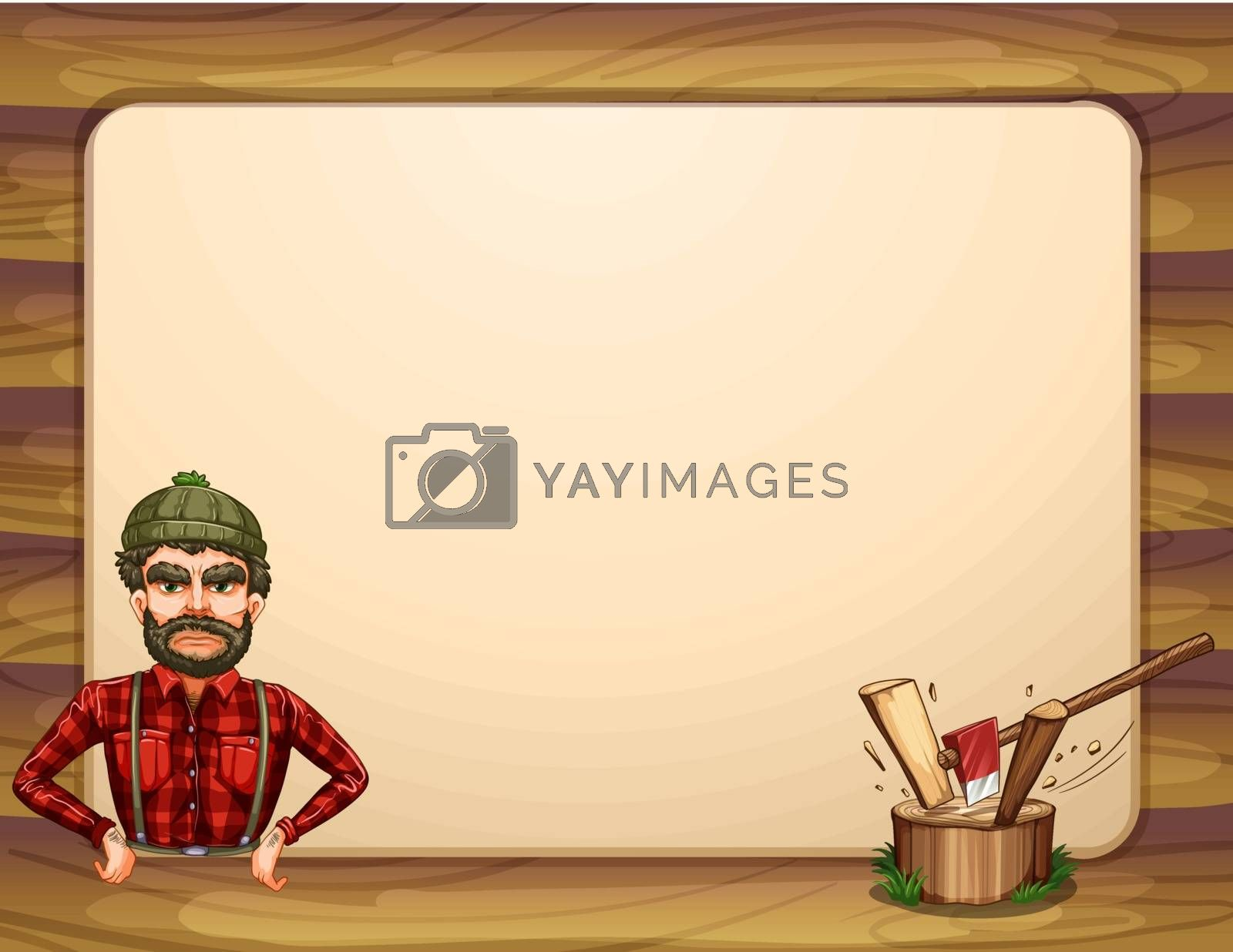 Illustration of an empty wooden frame template with a lumberjack