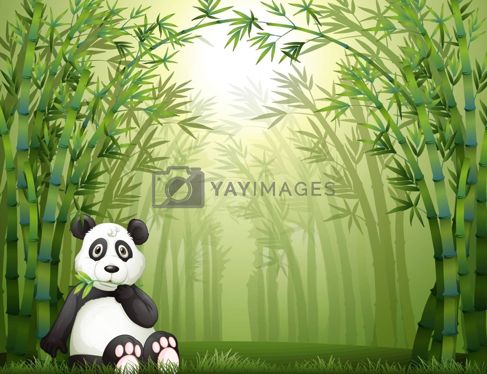 Illustration of a sitting panda bear in a bamboo forest