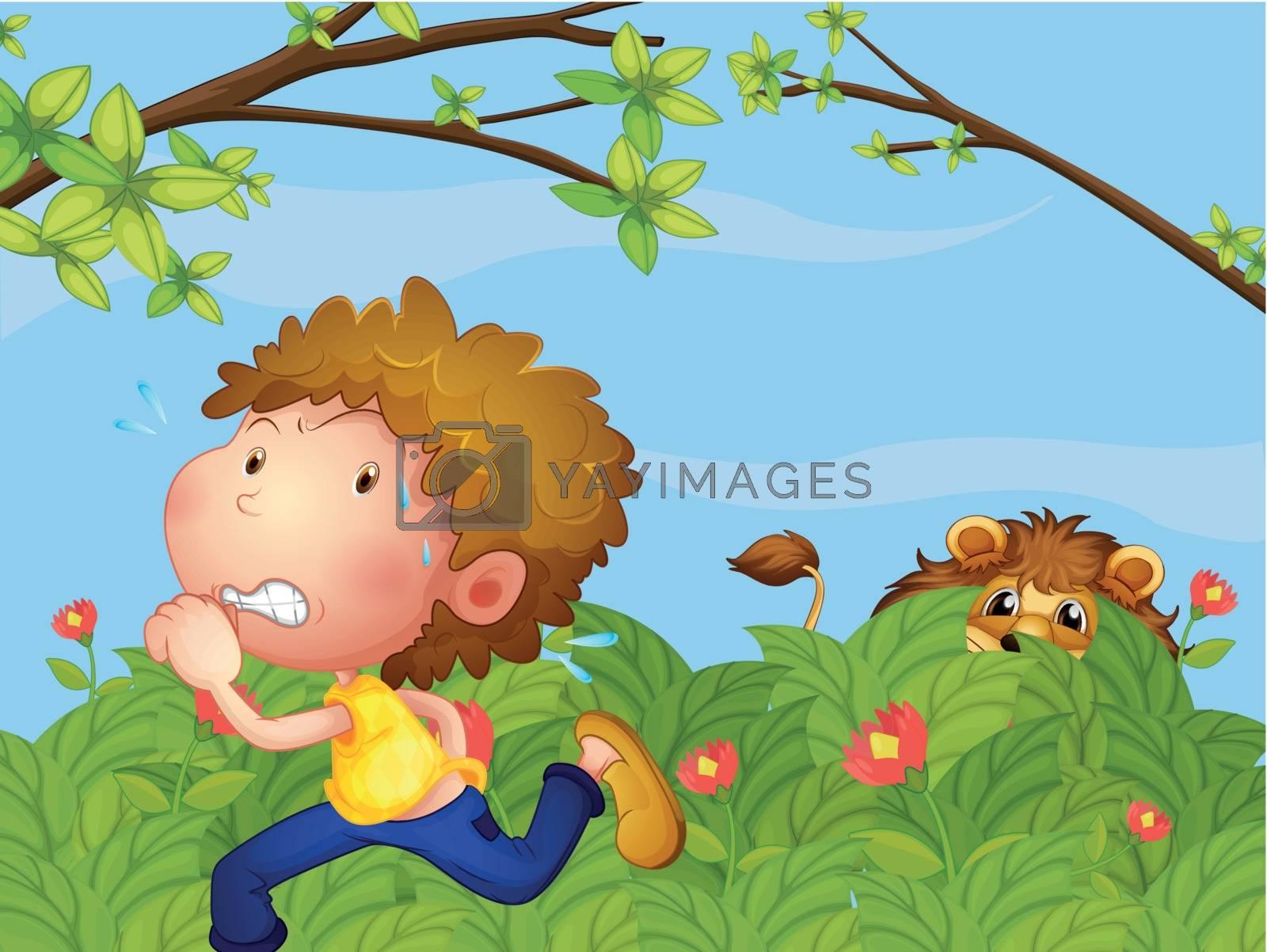 Illustration of a scared boy running