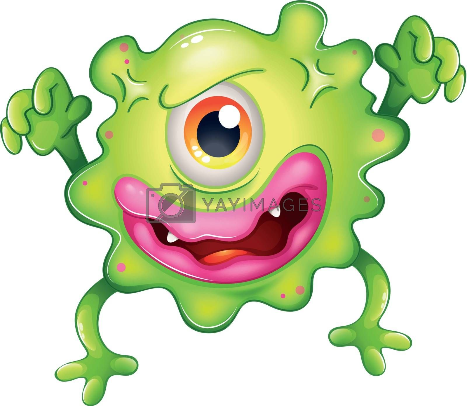 Illustration of an angry green one-eyed monster on a white background