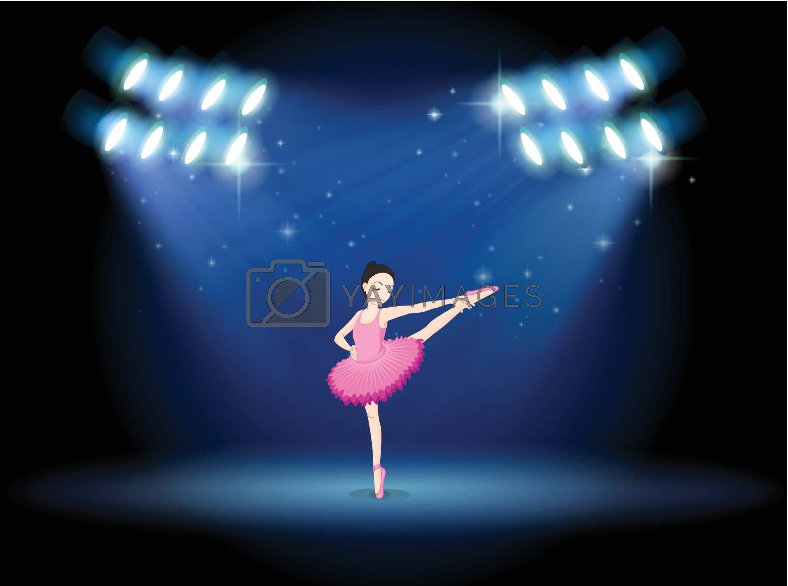 Illustration of a girl dancing ballet at the stage with spotlights
