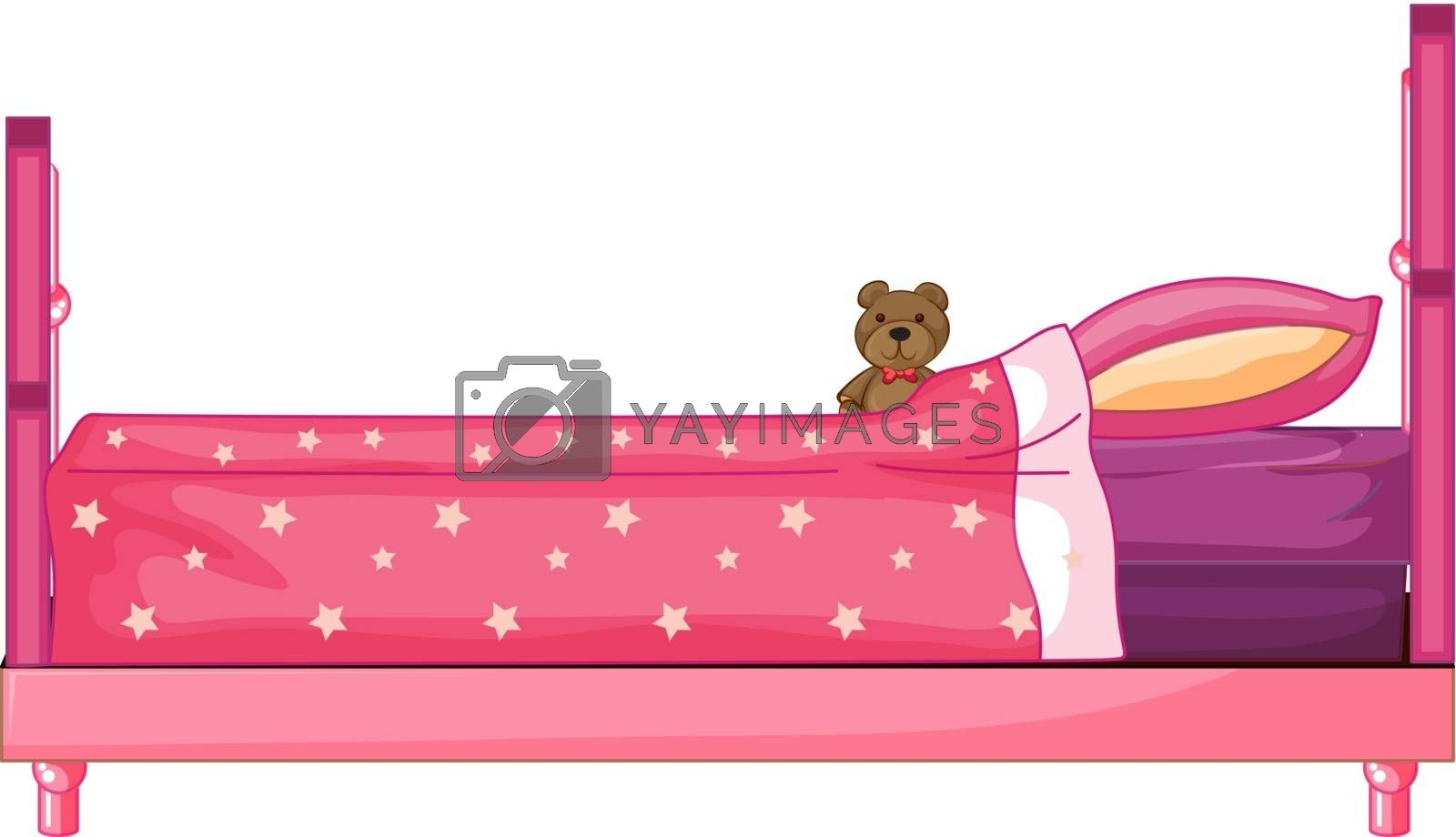 Illustration of a pink bed on a white background
