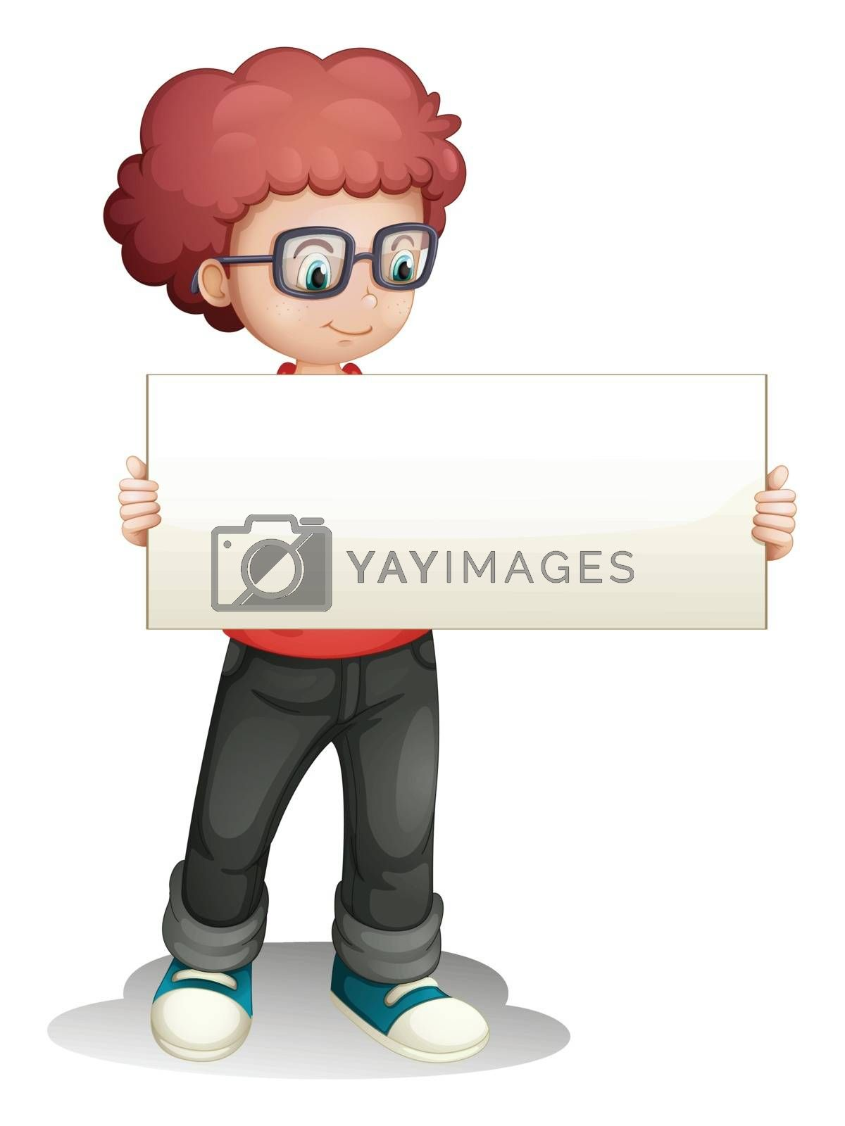 Illustration of a boy holding an empty banner on a white background