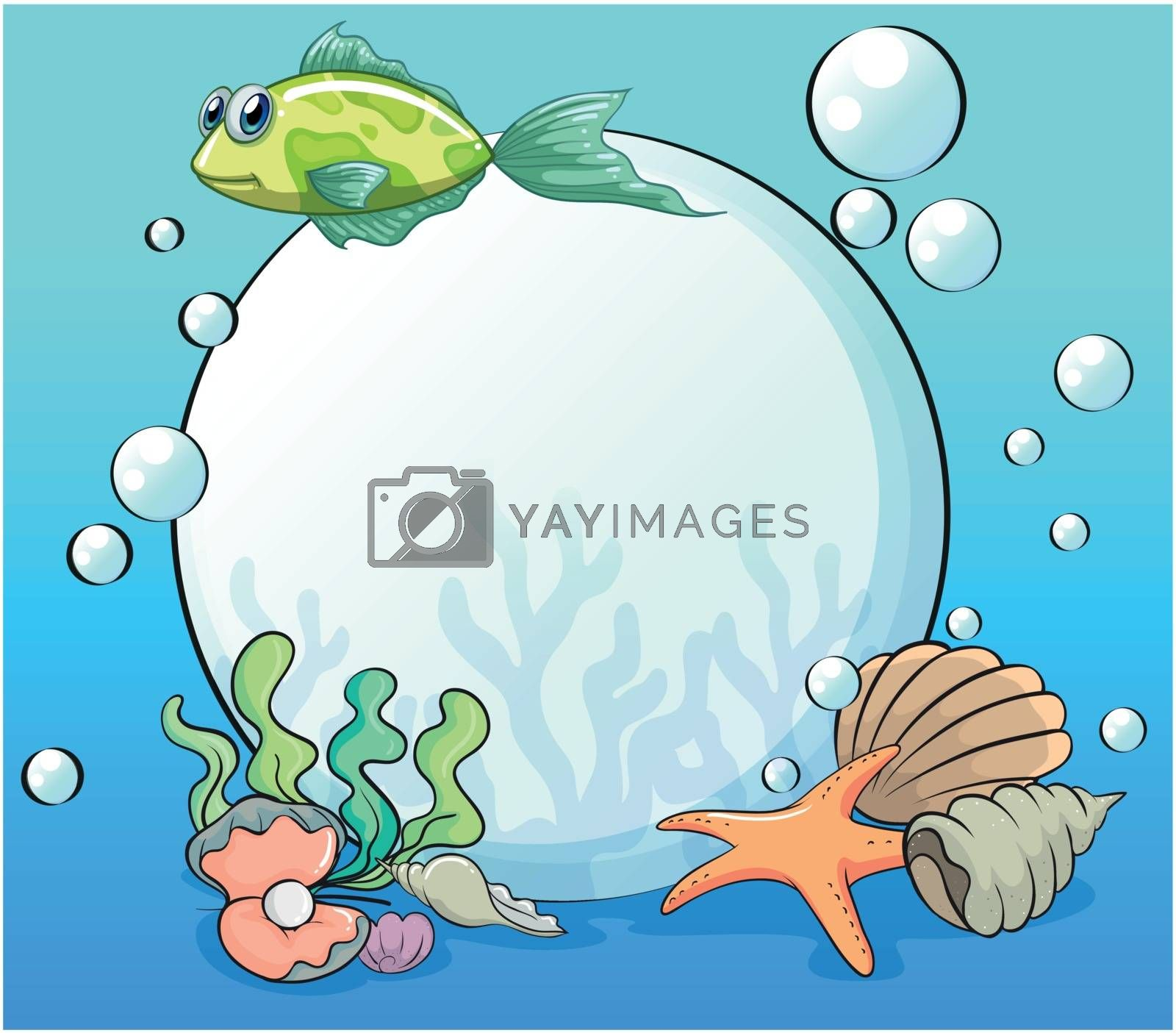 Illustration of a pearl in the ocean surrounded by sea creatures