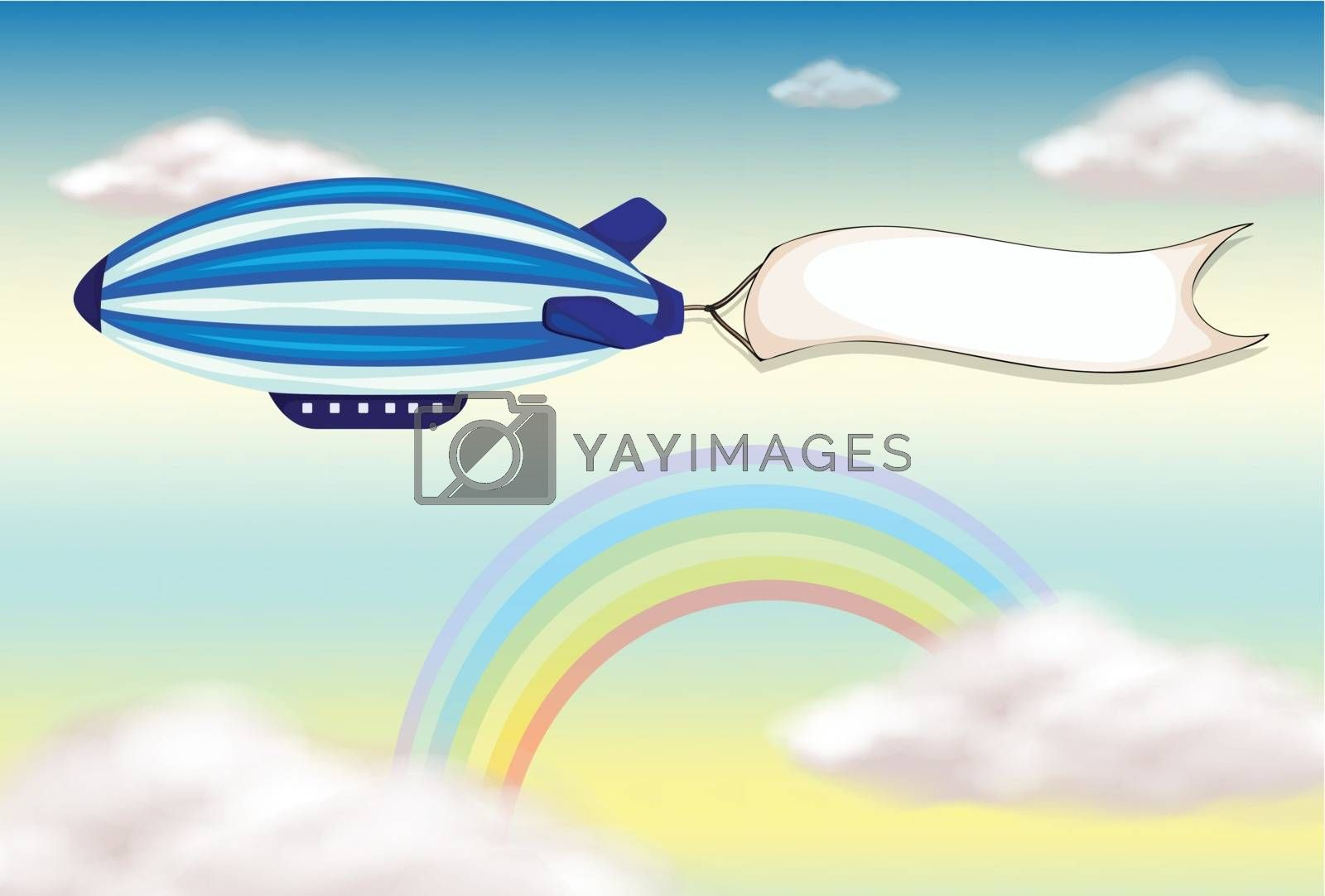 Illustration of a stripe blimp with an empty banner