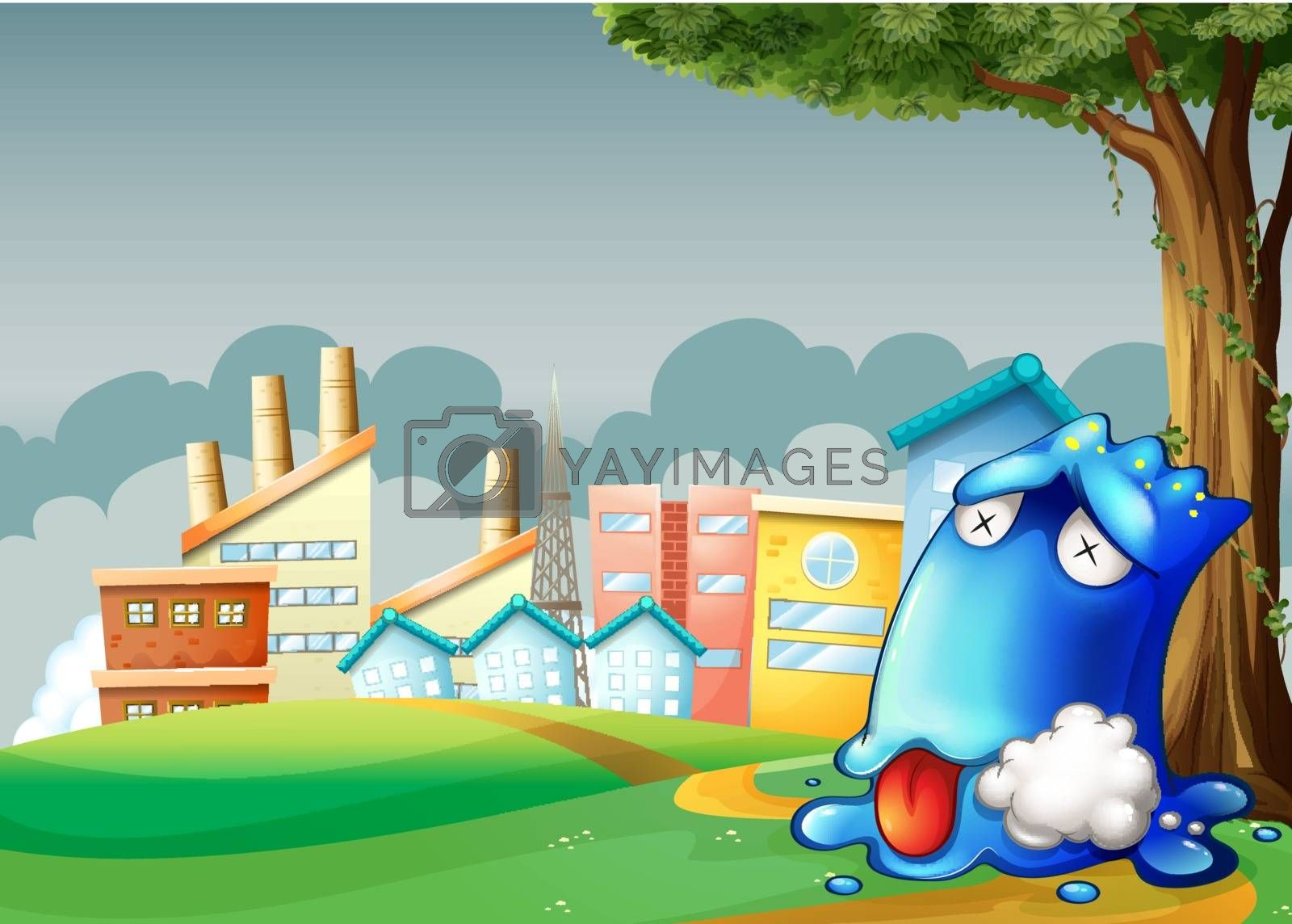 Illustration of a poisoned monster resting under the tree across the factories
