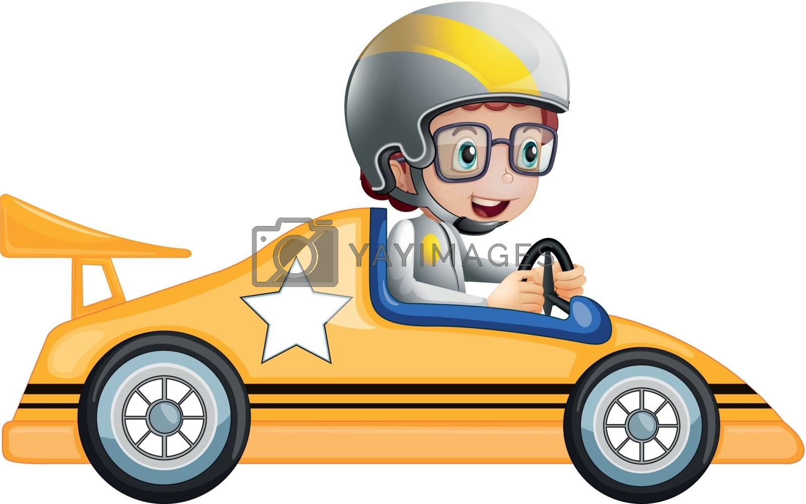 Illustration of a girl in her yellow racing car on a white background