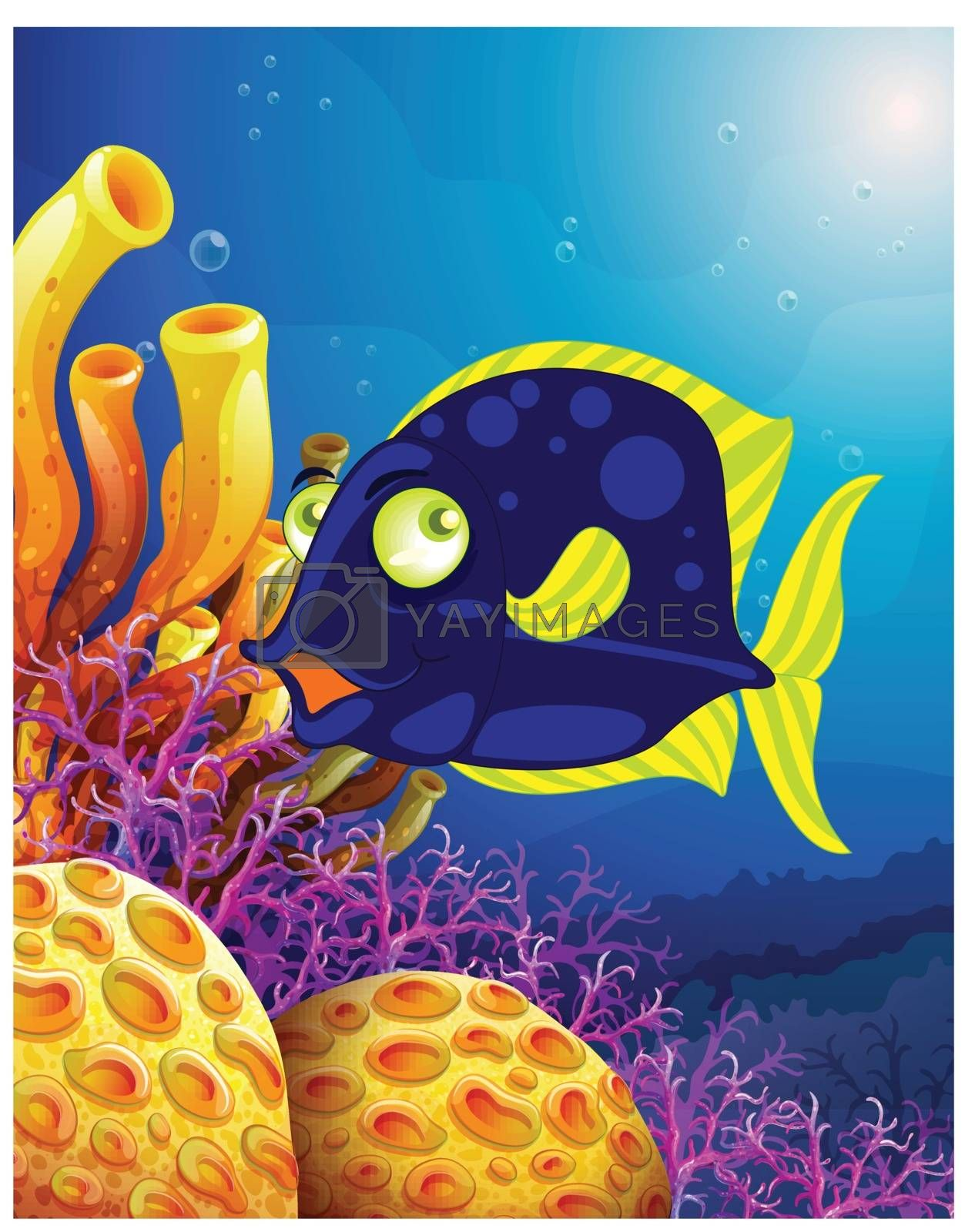 Illustration of a fish near the beautiful corals on a white background