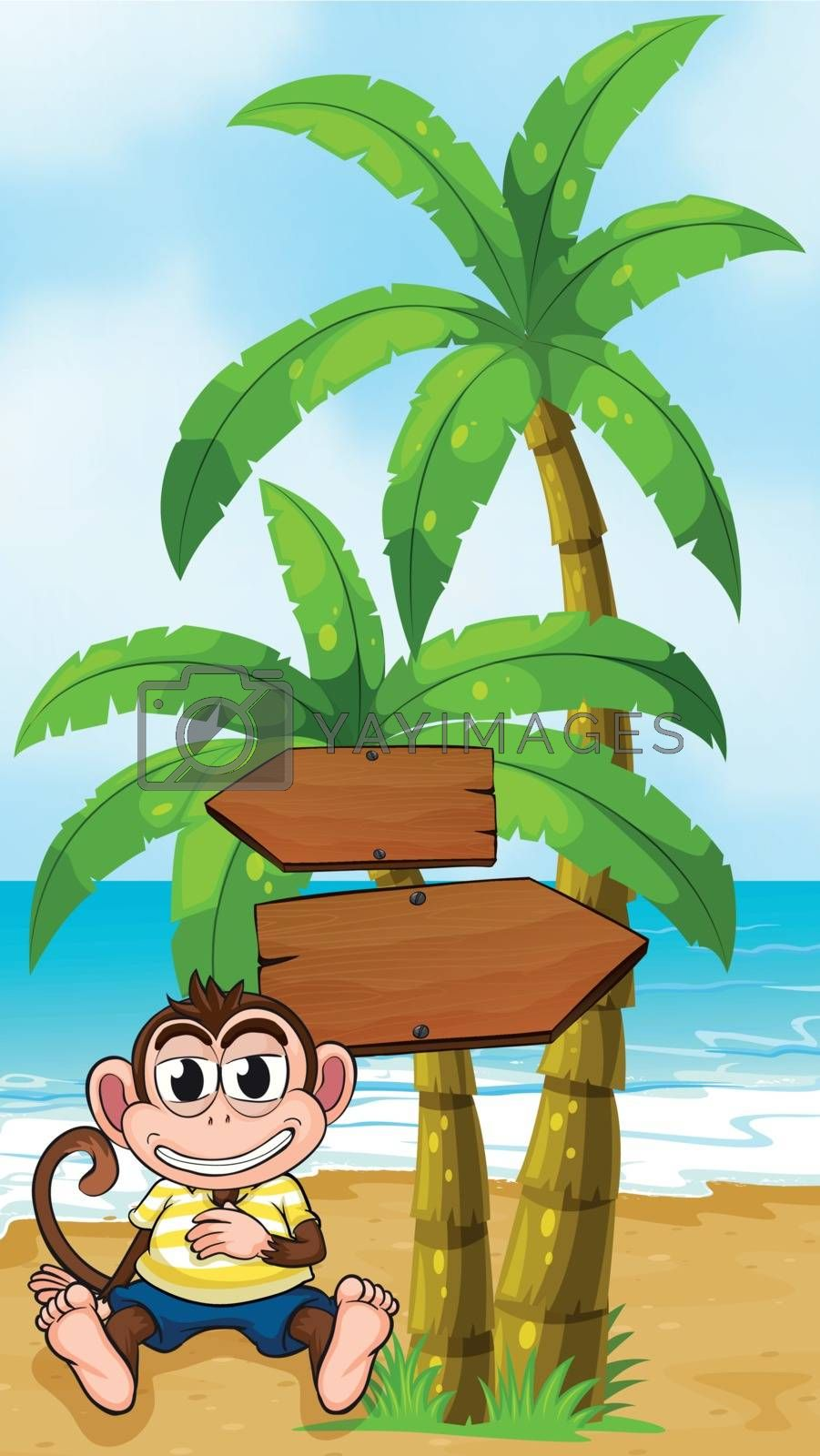 Illustration of a worried monkey at the beach with an empty callout