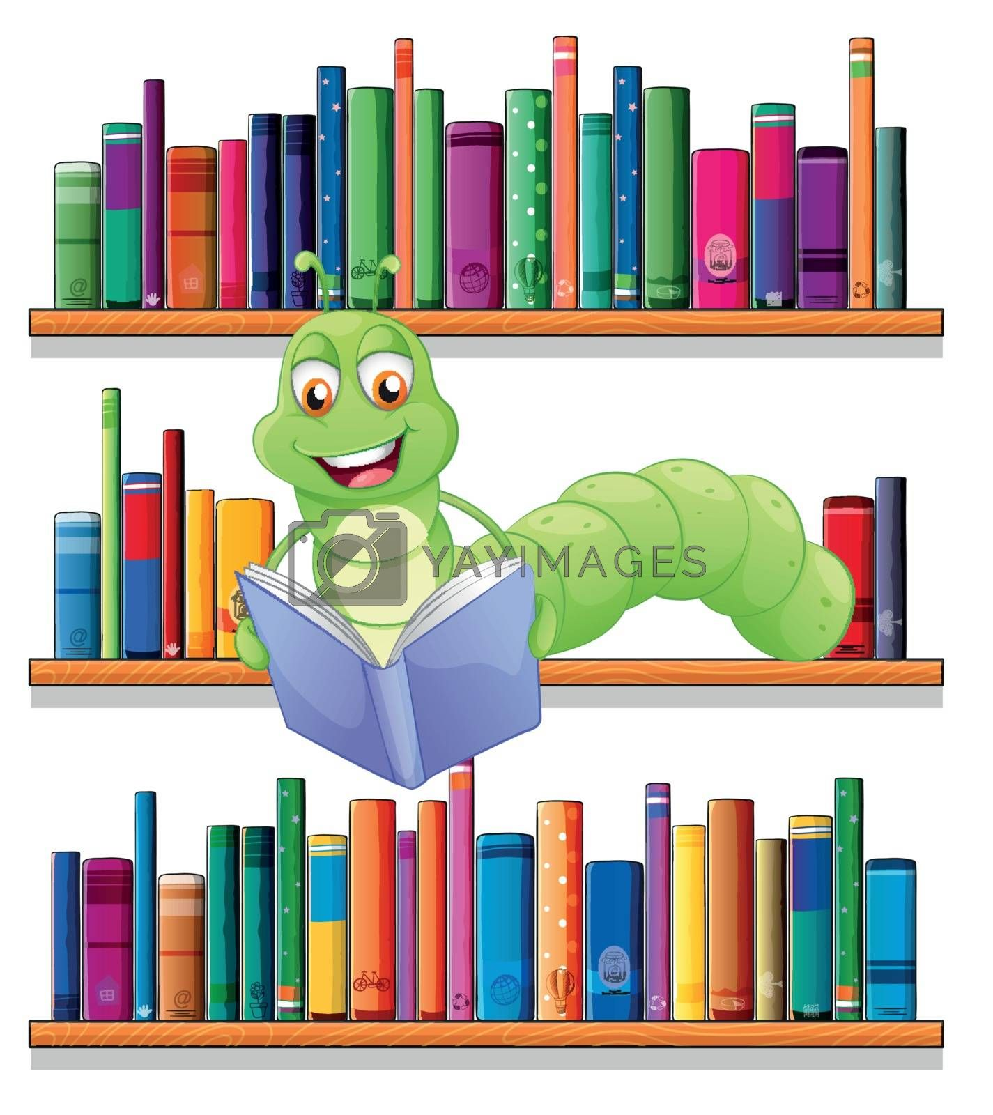 Illustration of a caterpillar reading a book on a white background
