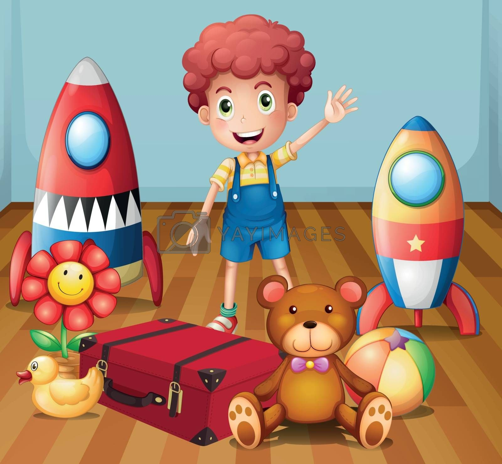 Illustration of a young boy with his toys inside the room