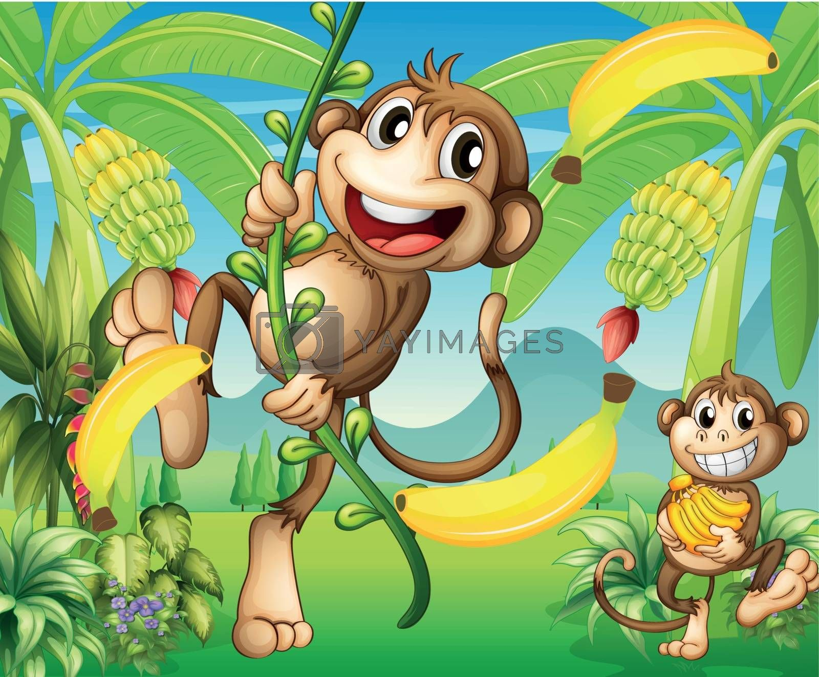 Royalty free image of Two monkeys near the banana plant by iimages