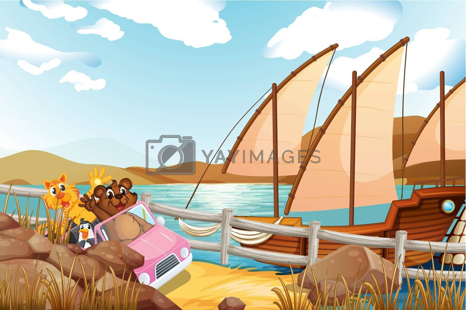 Illustration of a pink car with animals at the riverbank with a ship