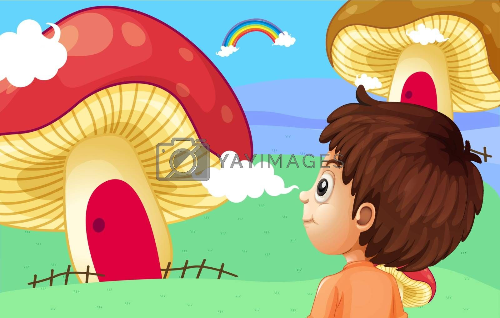 Illustration of a young boy watching the giant mushroom houses