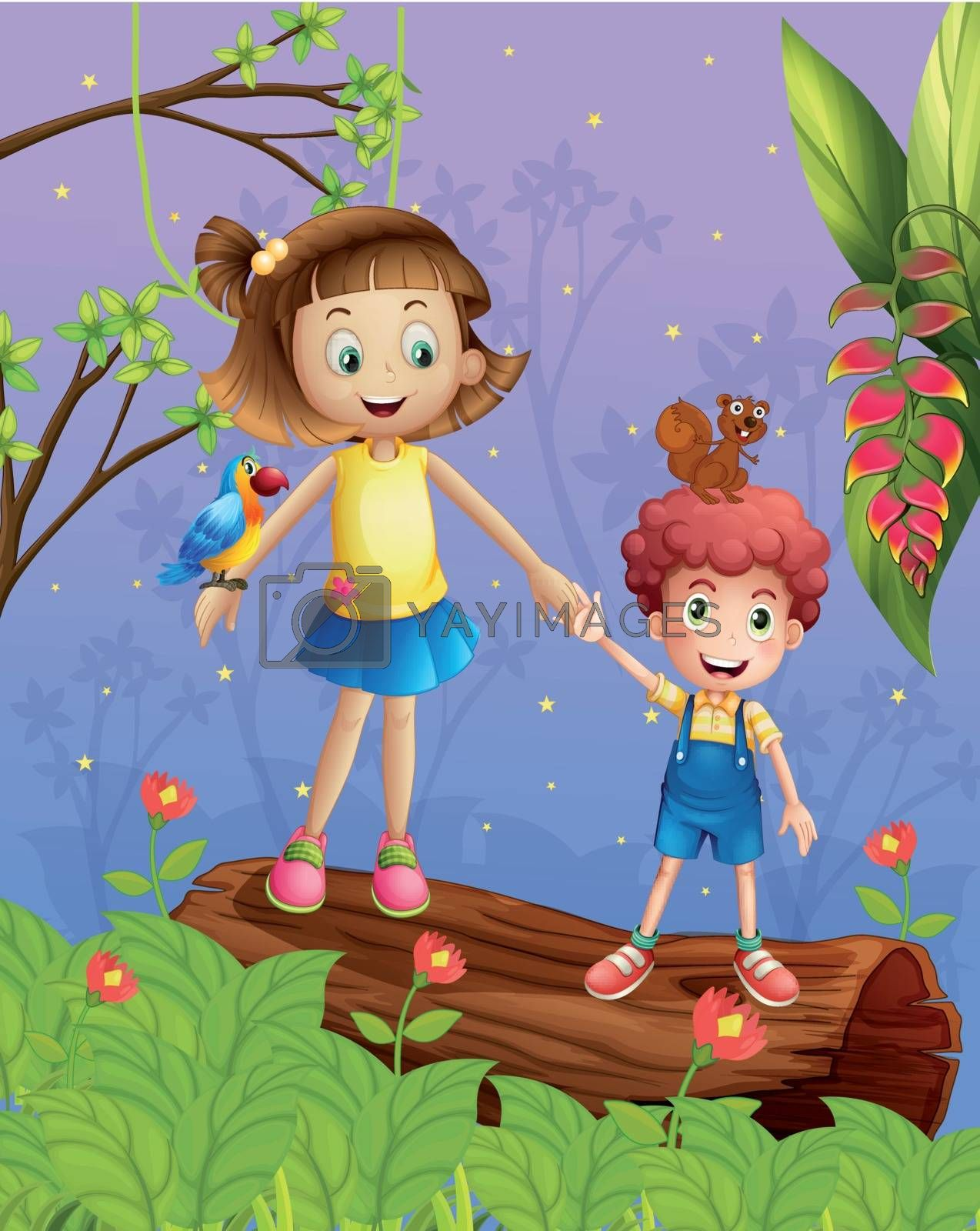 Illustration of a girl and a boy in the forest