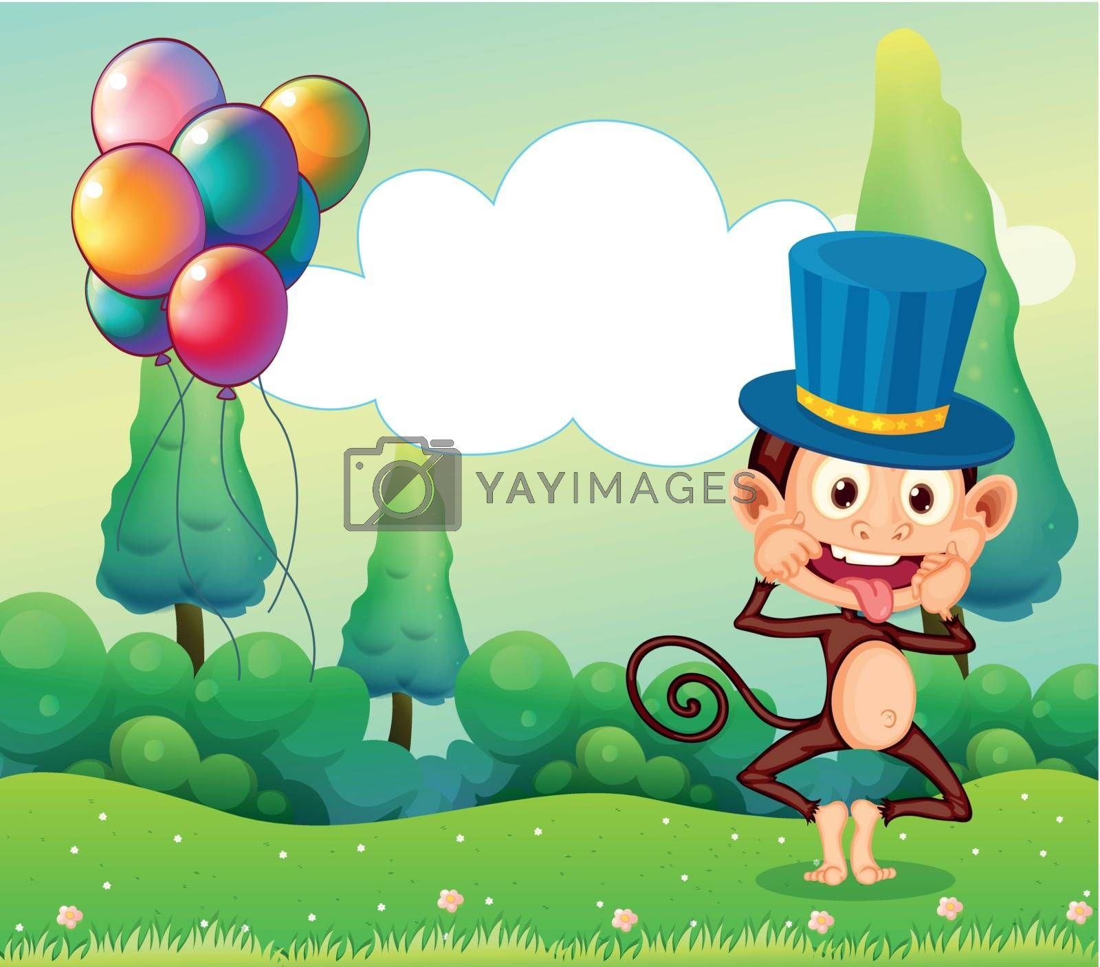 Illustration of a monkey with balloons in the hilltop