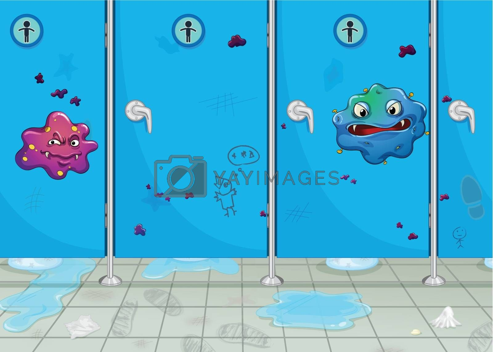 Royalty free image of doors of wash-room and a monster by iimages