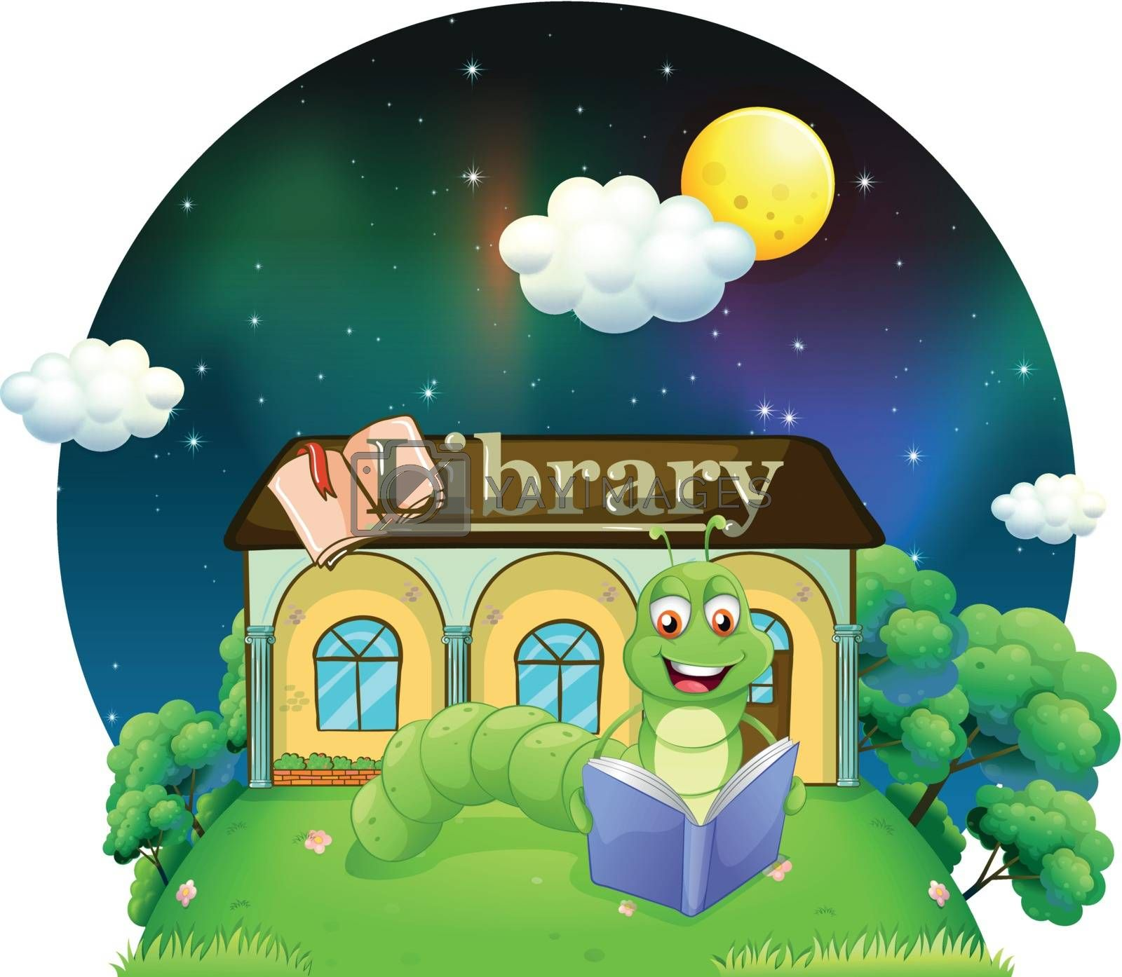 Royalty free image of A worm reading a book in front of the library  by iimages