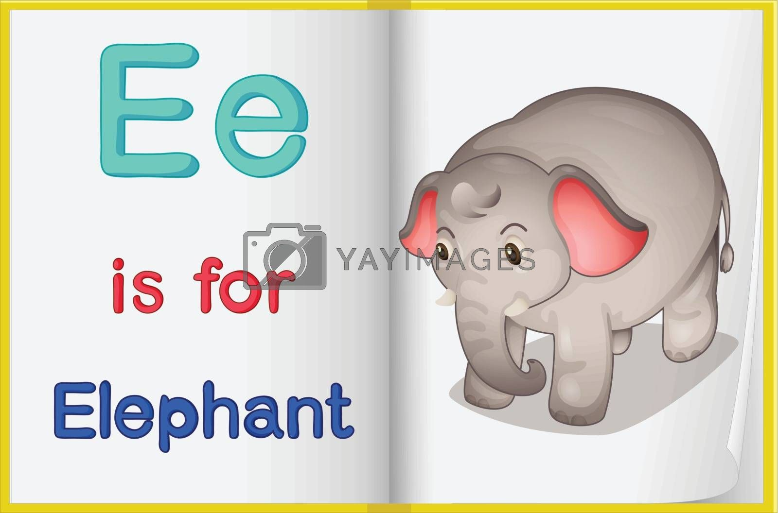 Illustration of an elephant in a book on a white background