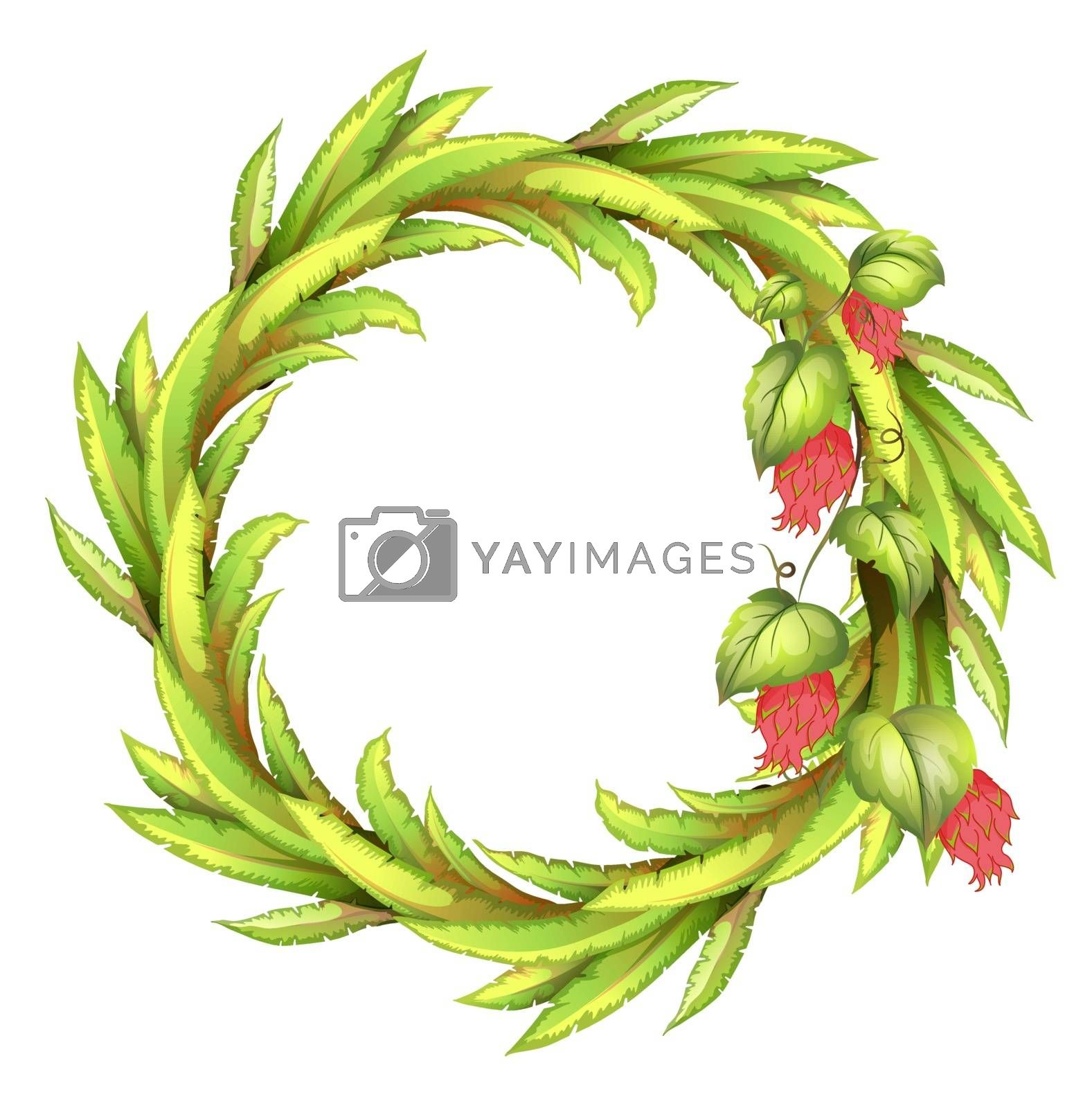 Illustration of a round border made of long leaves on a white background