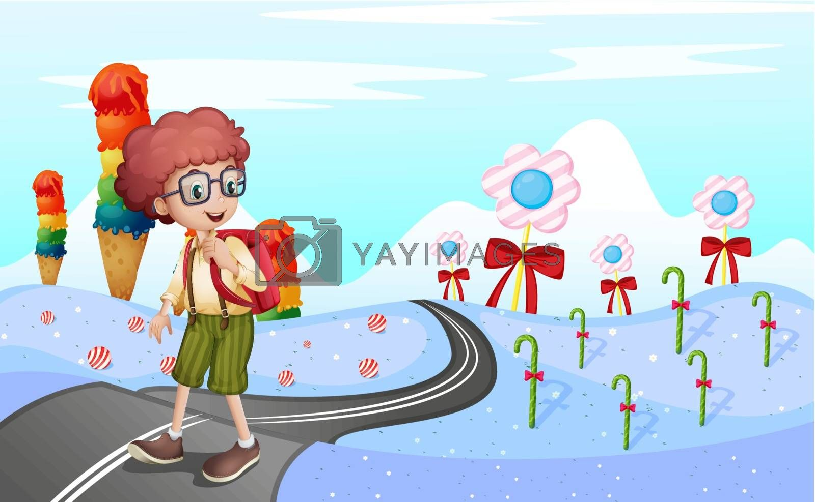 Royalty free image of A student walking in the road by iimages