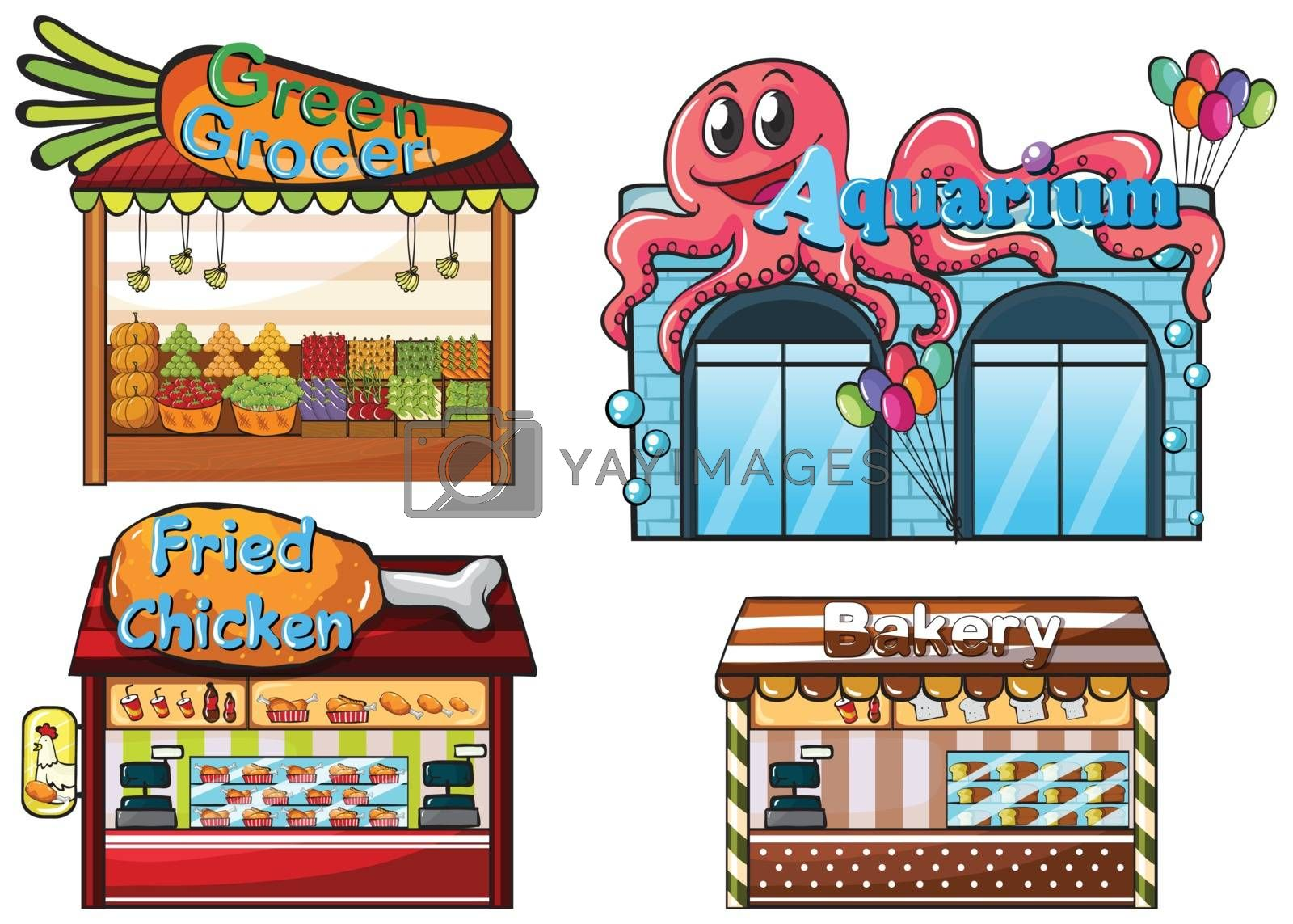 Royalty free image of A fruitstand, an aquarium, a food stall and a bakery by iimages