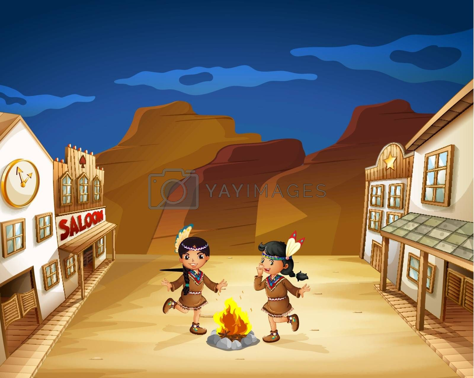 Illustration of the two Indian girls dancing around the fire