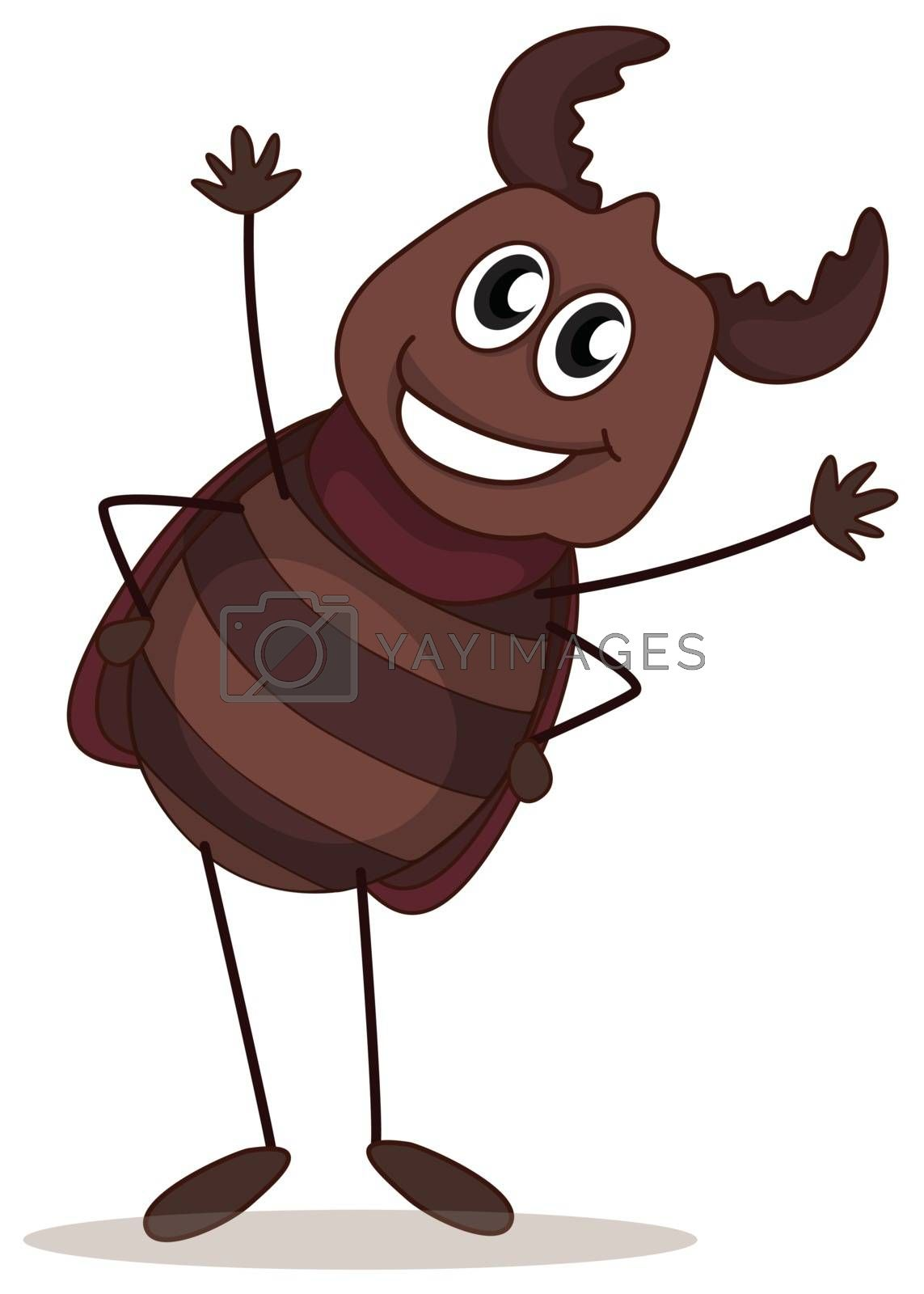 Illustration of a smiling beetle on a white background
