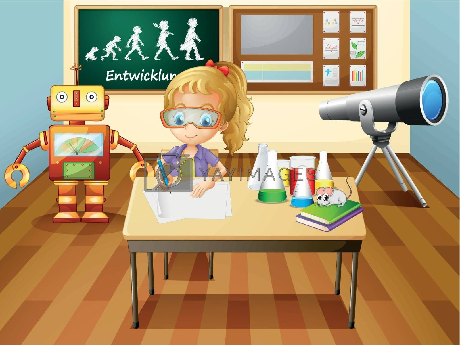 Royalty free image of A girl writing inside a science laboratory room by iimages