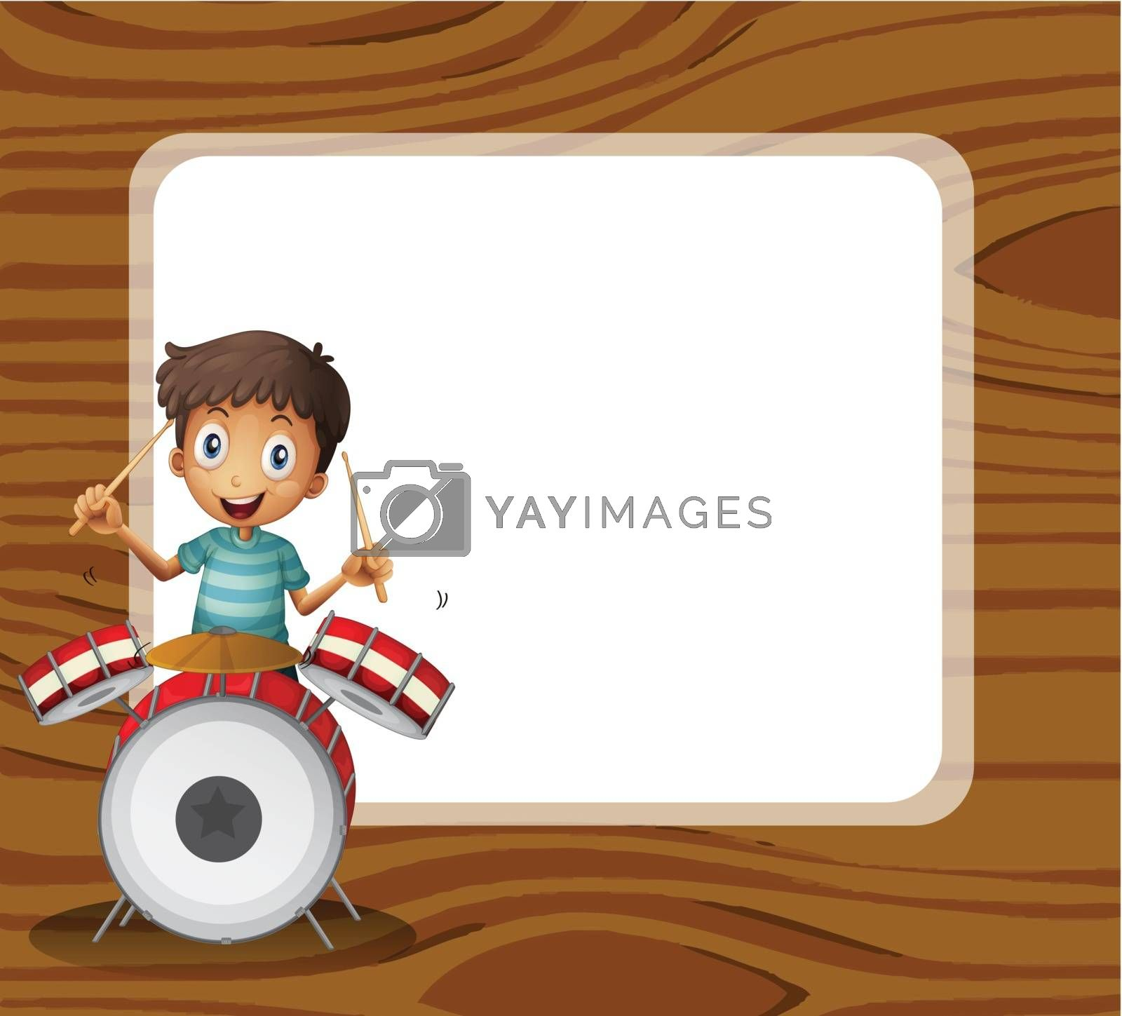Illustration of a drummer in front of the empty signboard