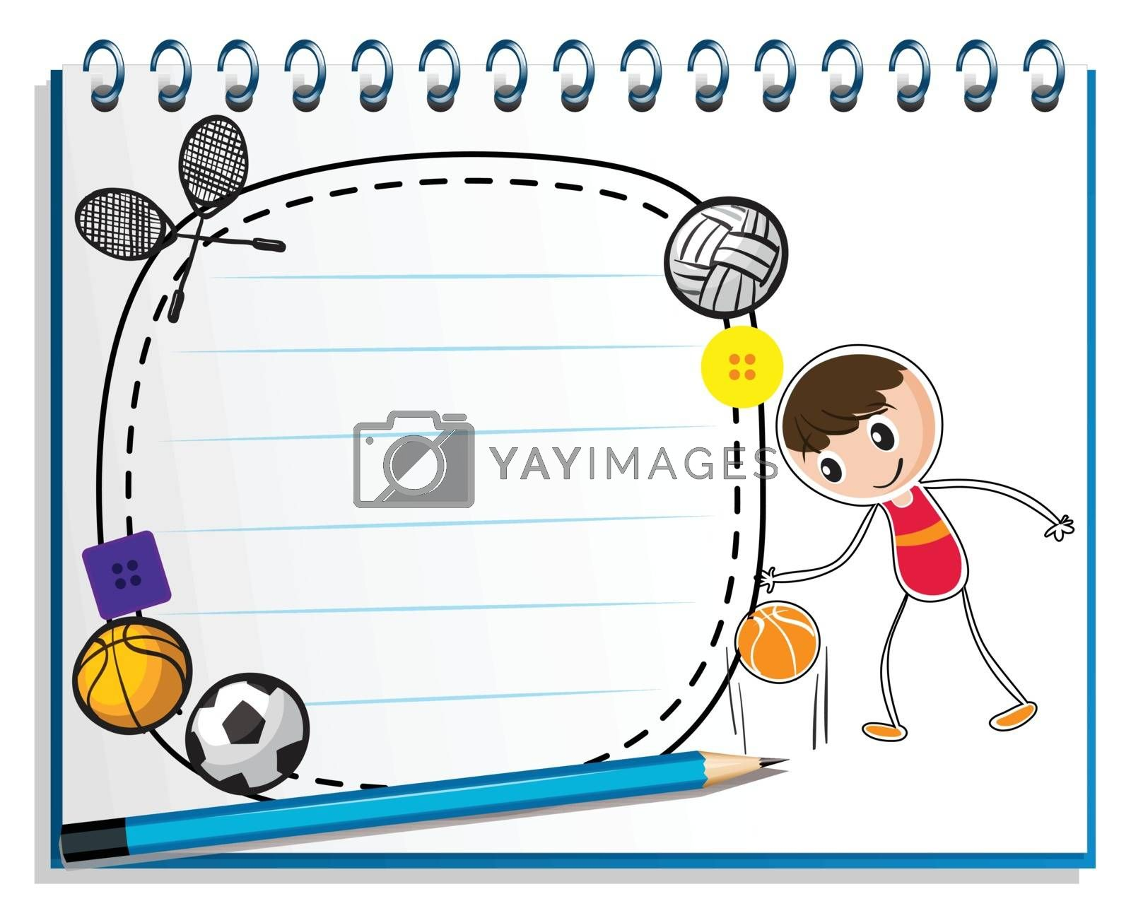 Royalty free image of A notebook with a drawing of a boy with the different sports acc by iimages